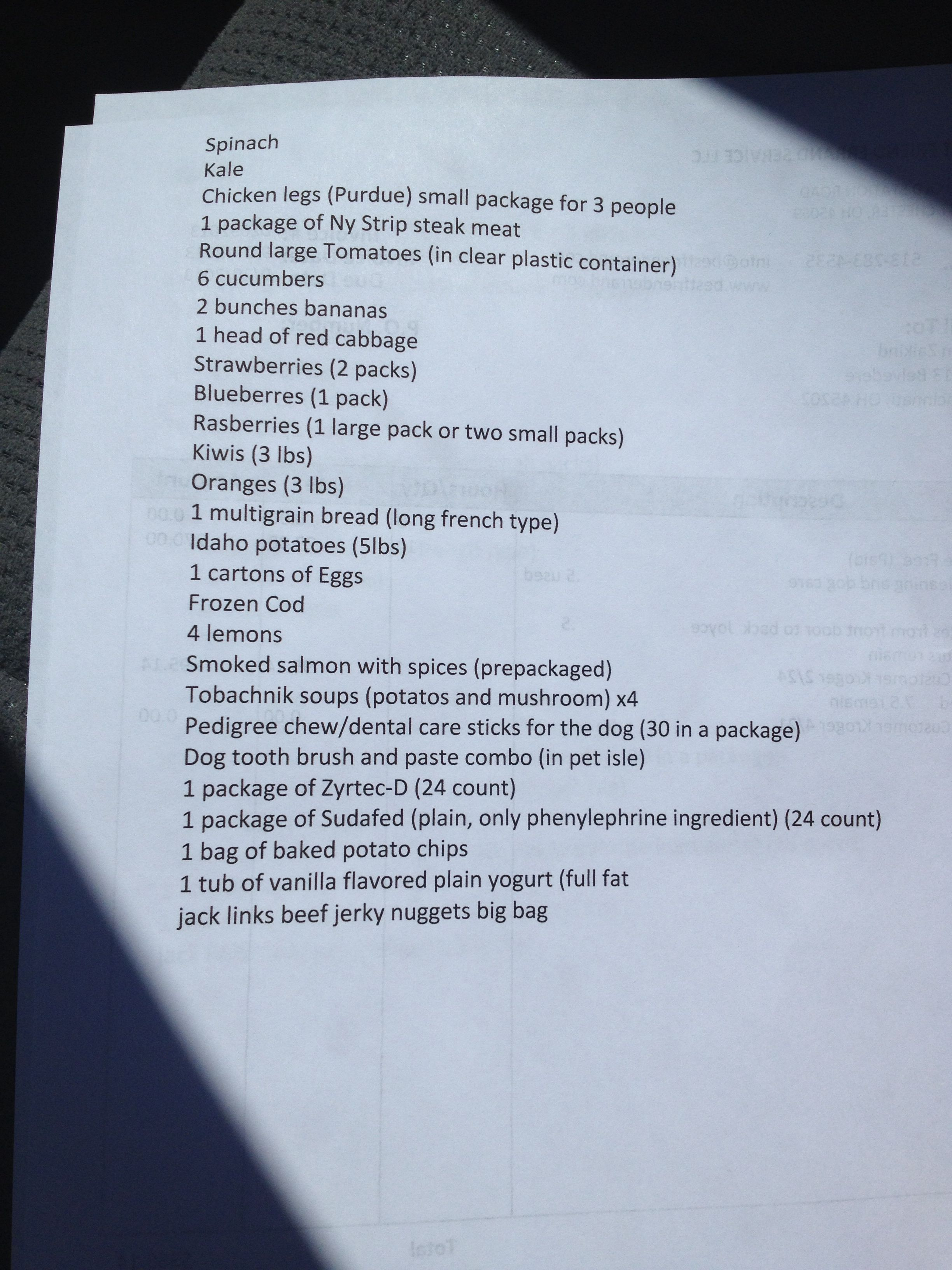 This is a customer grocery list that I will deliver this