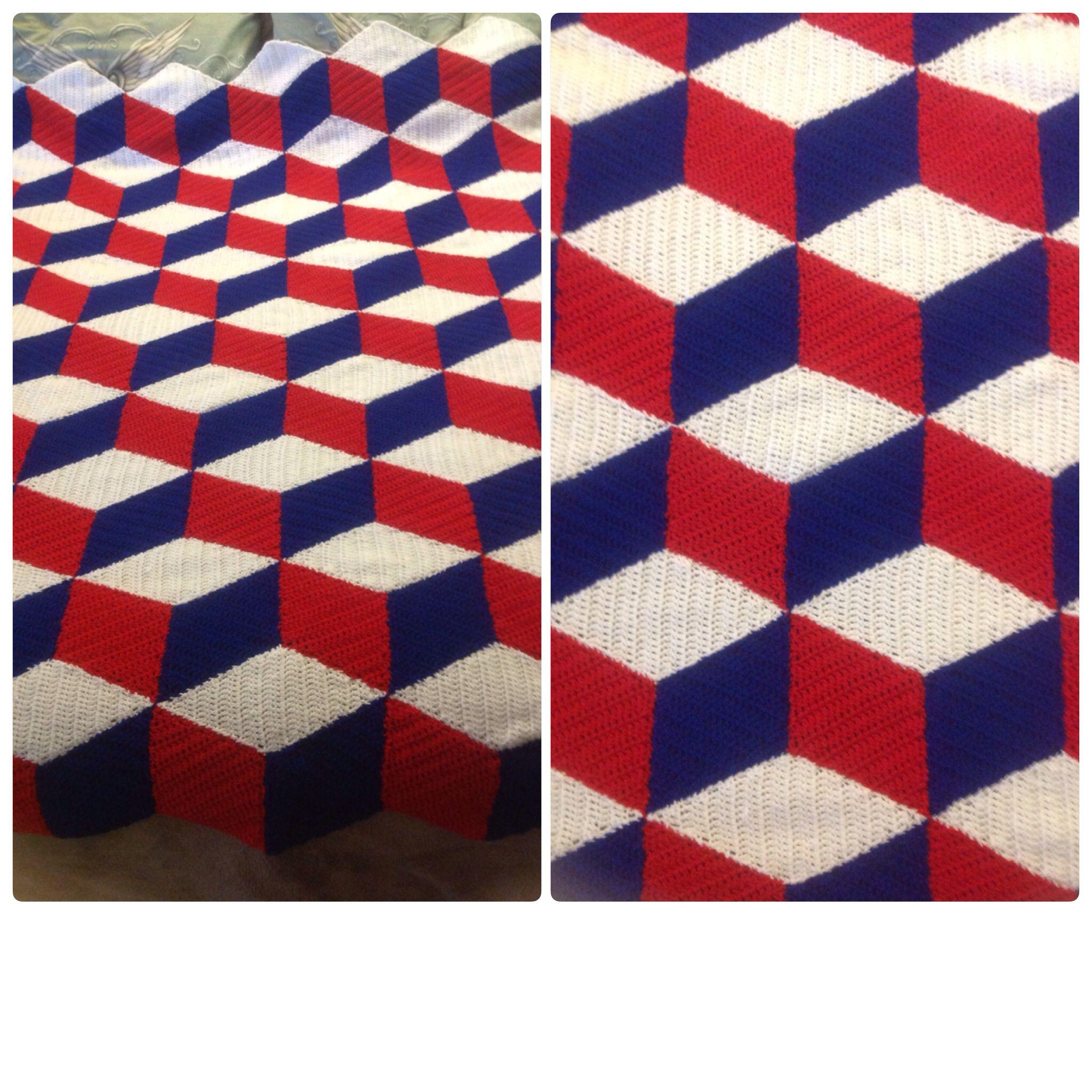 3d Optical Illusion Crochet Afghan Blanket Tumbling Blocks