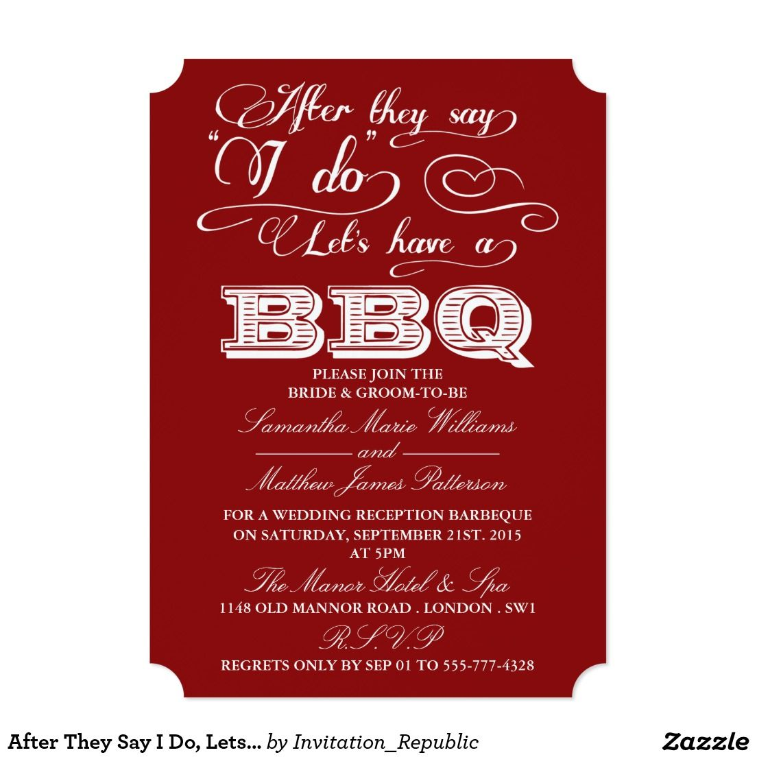 After They Say I Do, Lets Have A BBQ! - Red | Typography Wedding ...