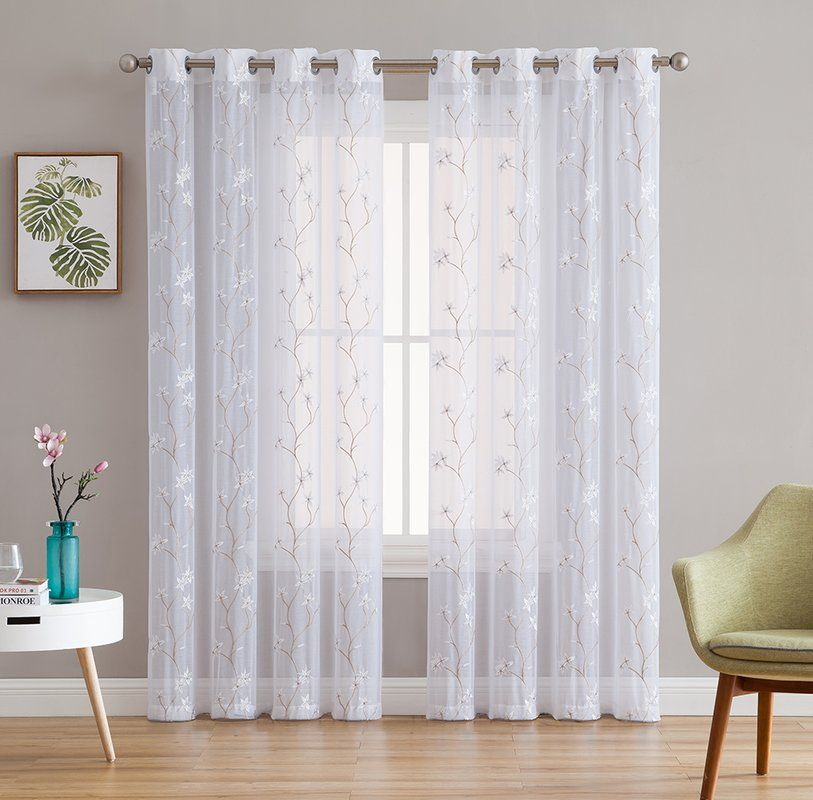 Dionysios Floral Embroidered Semi Sheer Grommet Curtain Panels In