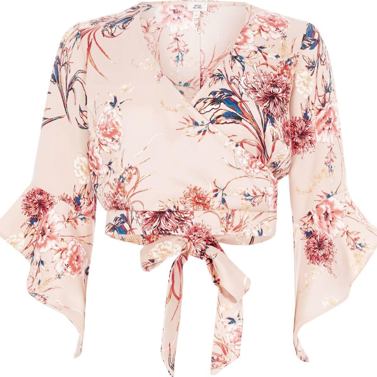 c8cd21e1e31bb Light pink floral wrap flare sleeve crop top - Tops - Sale - women