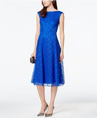 Betsey Johnson Floral-Lace Tea-Length Dress - Dresses - Women ...