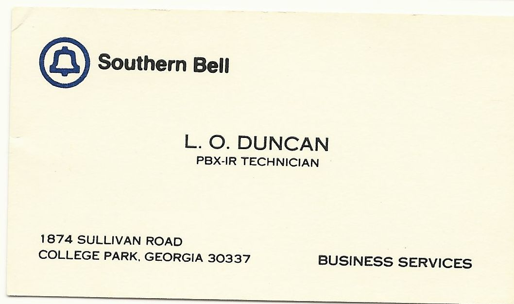 1979 Southern Bell Business Card for PBX (Private-Branch