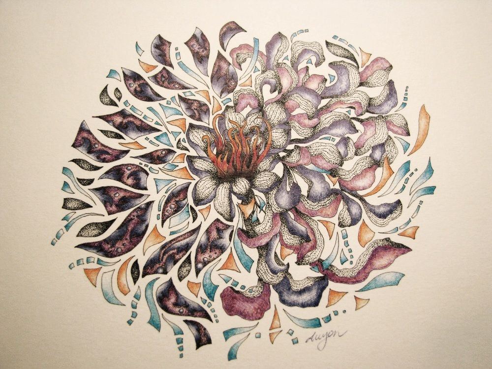 Chrysanthemum 9x12 005 Black micron pen and colored ball-point pens on  textured paper.
