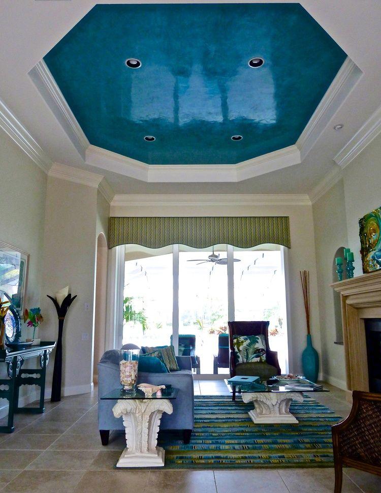 Pin By Venetian Plaster Art On Venetian Plaster On The: Aqua Venetian Plaster Living Room Ceiling Polished To A