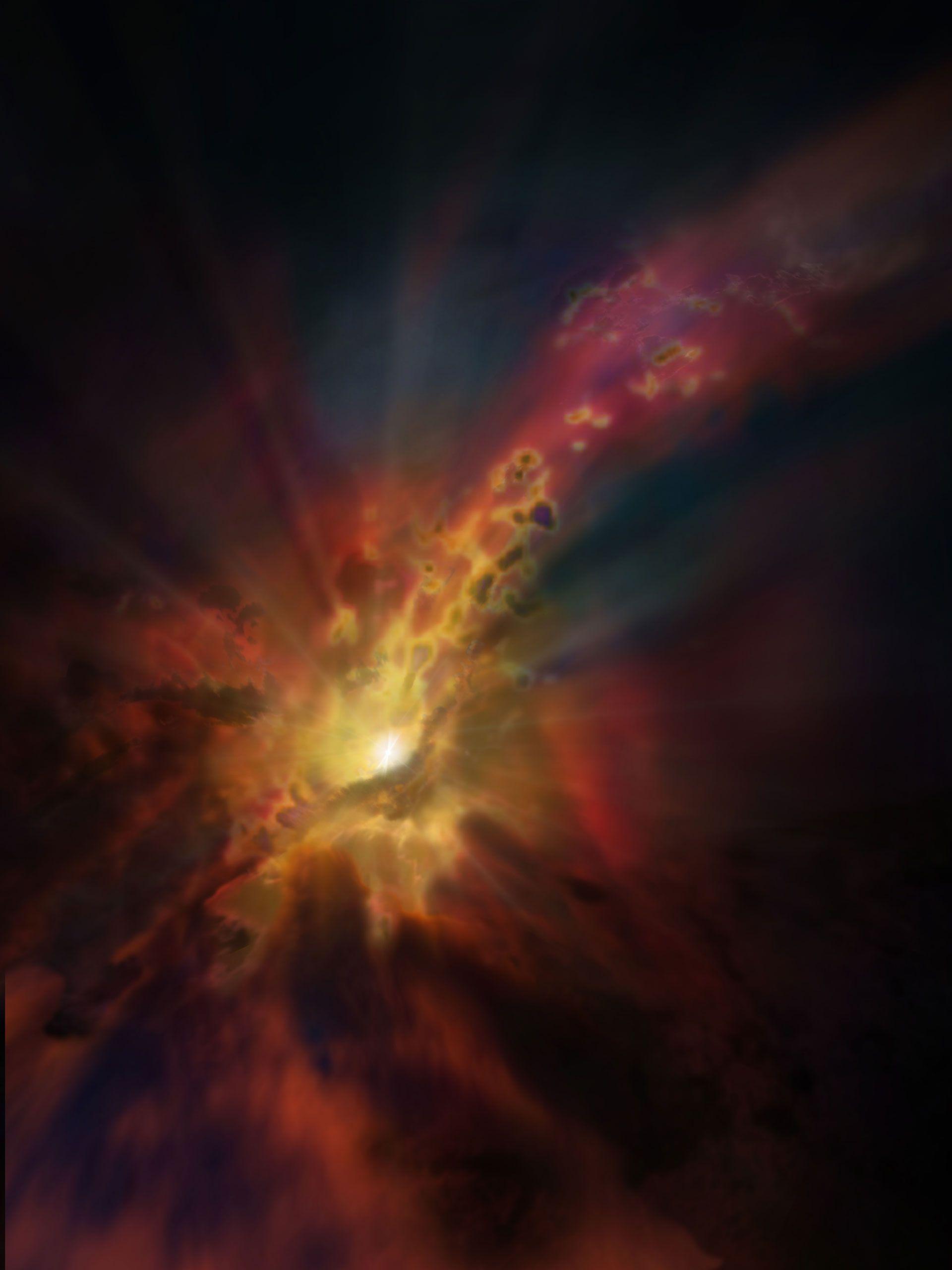 Astronomers Detect Most Distant Galactic Wind Of Molecules To Date Mit Bildern Schwarzes Loch Weltraum Und Astronomie Weltall