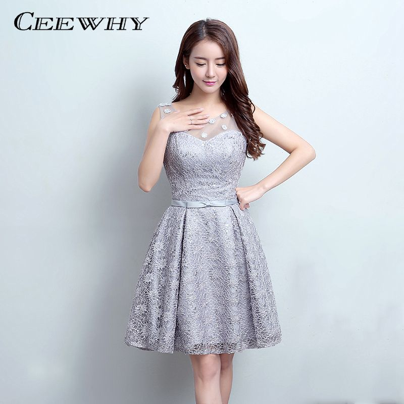Ceewhy Gray O Neck Appliques Evening Dress Knee Length Lace Short