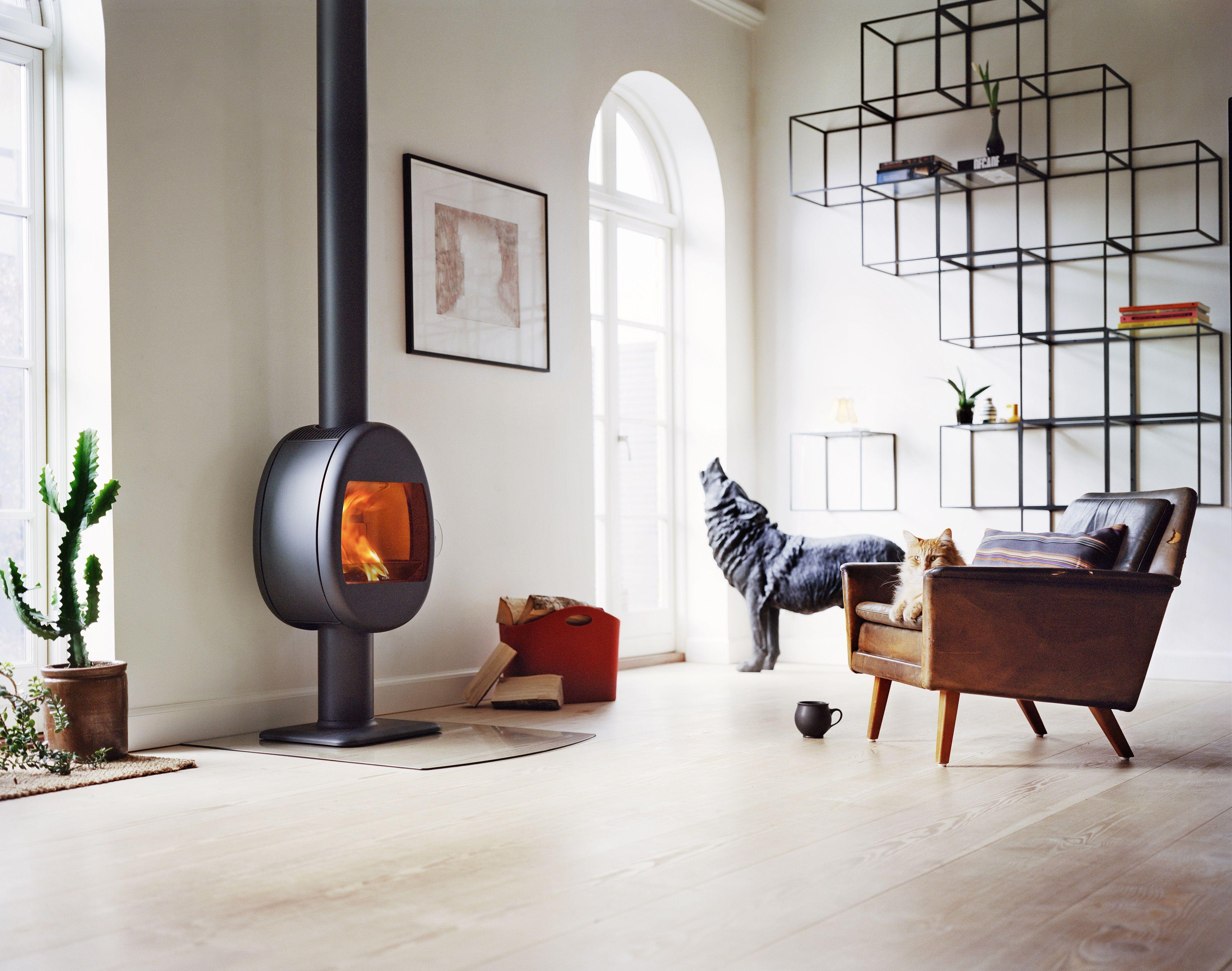 Stunning Scan 66 2 Pedestal base woodburning stove in black also