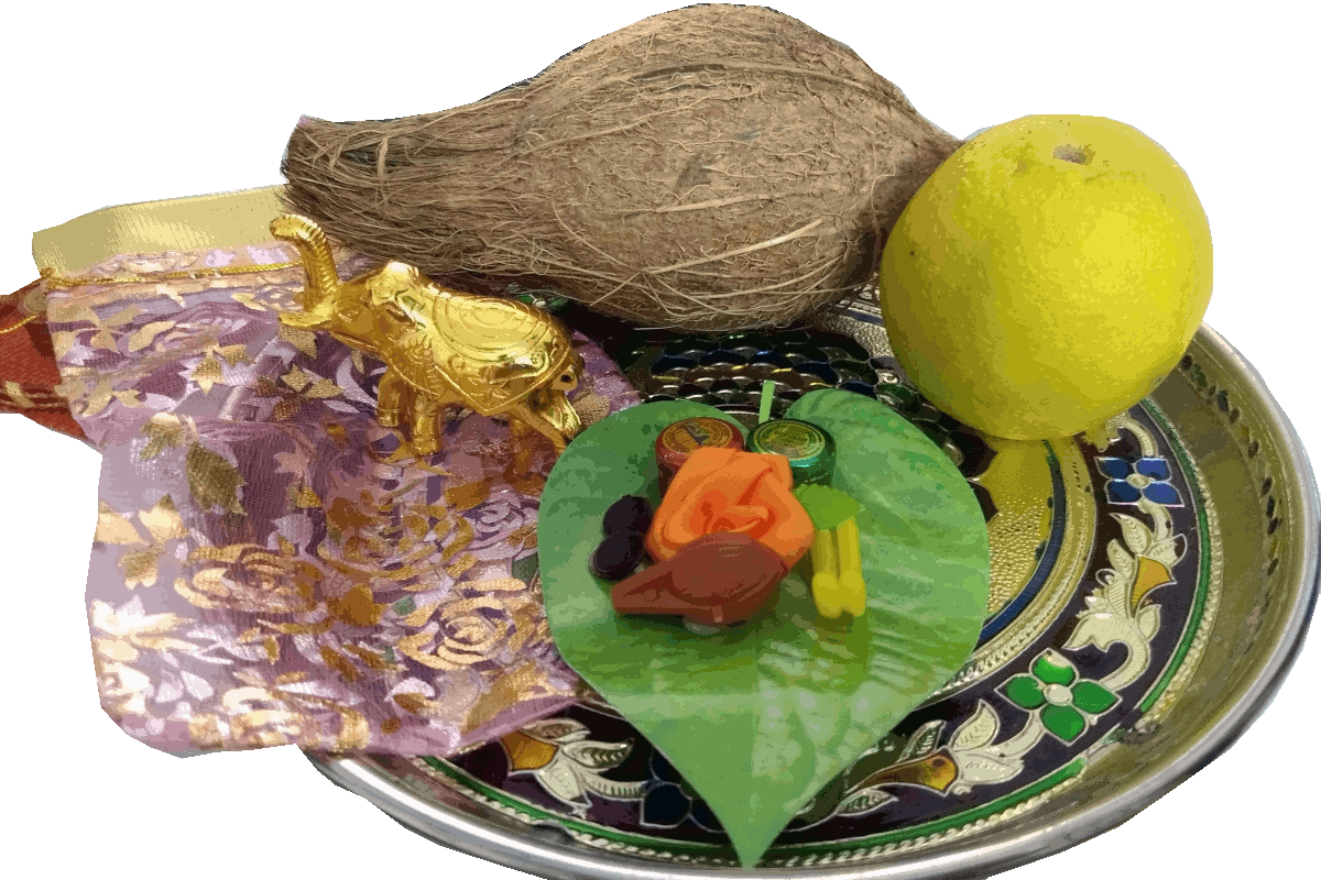 A Beautiful Tamboolam An Elephant Kumkum Box As A Return Gift With The Traditional Betel Leaf Platter Along Wi Marriage Gifts Baby Shower Return Gifts Gifts