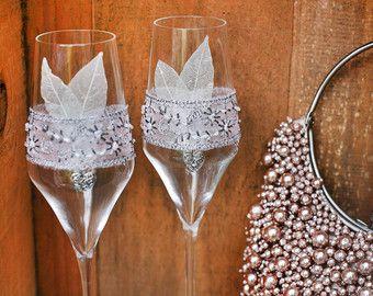 Gran Gatsby boda copas de champagne con plumas por PureBeautyArt