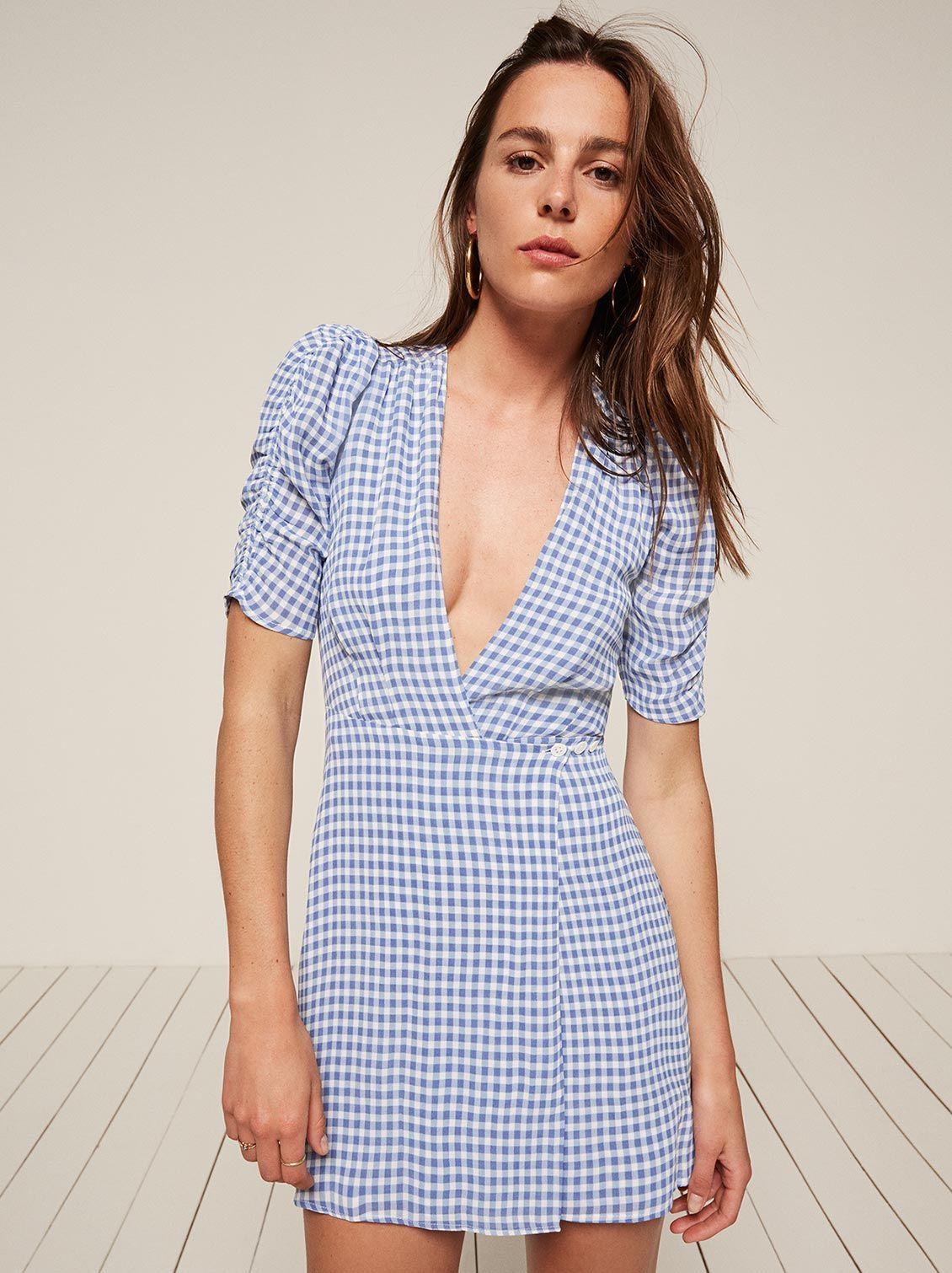 4f2d65a4259 Lorena blue gingham mini dress Reformation