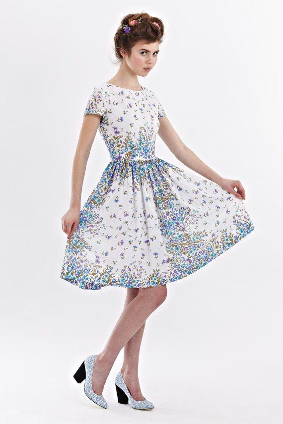 Wedding guest dress Floral bridesmaid dress Garden party dress Tea ...