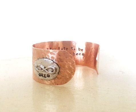 Infinity Medallion Inscribed Bracelet Modern Designer Jewelry