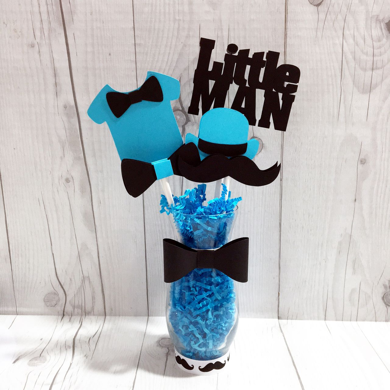 Turquoise U0026 Black Little Man Centerpiece Sticks. Little Man  CenterpiecesBaby Shower ...