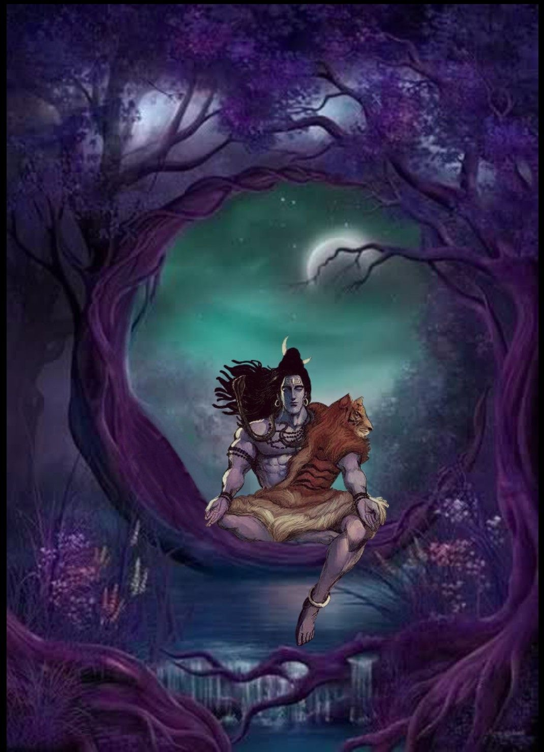 Lord Shiva As Adiyogi In Creative Art Painting Lord Shiva