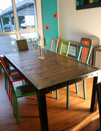 Table métal bois in 2018 | Bancos de jardín | Mesas, Muebles, Mesa ...