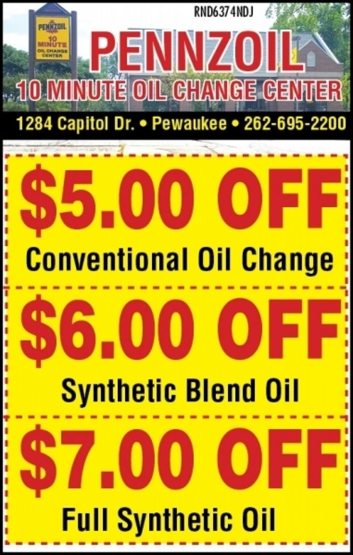 Pennzoil 10 Minute Oil Change Oil Change Free Printable Coupons Local Coupons