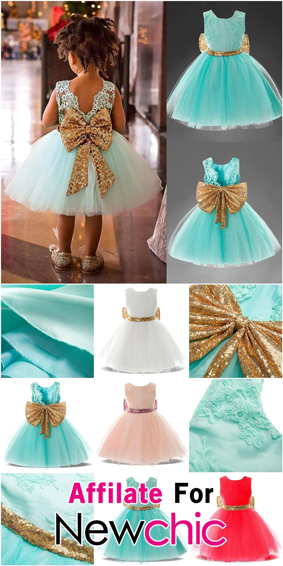 Big bowknot girls toddler birthday wedding princess dress