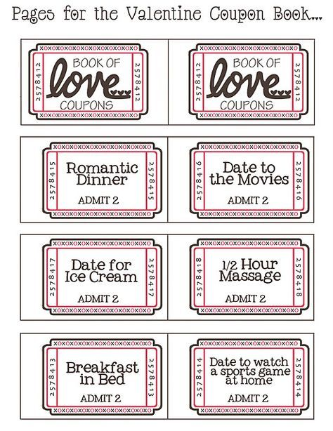 free download printable for a book of love tickets also a blank