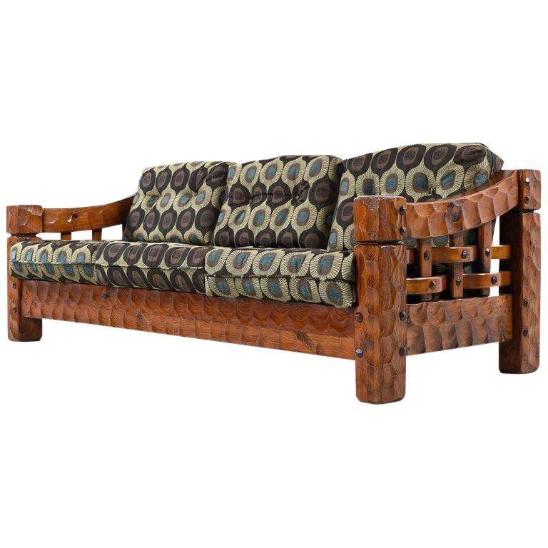 Solid Pine Rustic Log Cabin Sofa By