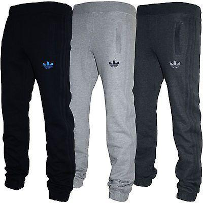 2b1b687ca26e4 Mens Adidas Originals SPO Fleece Trefoil Tracksuit Pants Bottoms Grey Black  S-XL