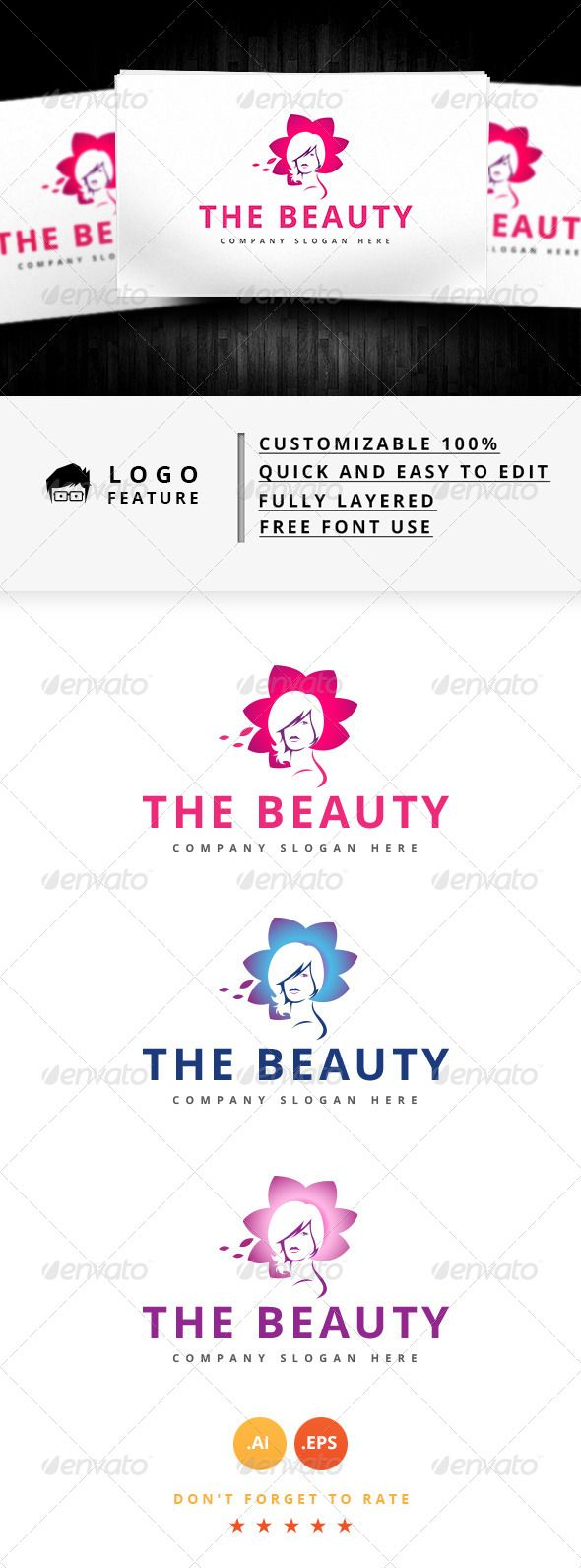 The Beauty Logo — Vector EPS #ocean logo #free logo • Available here → https://graphicriver.net/item/the-beauty-logo/8644834?ref=pxcr