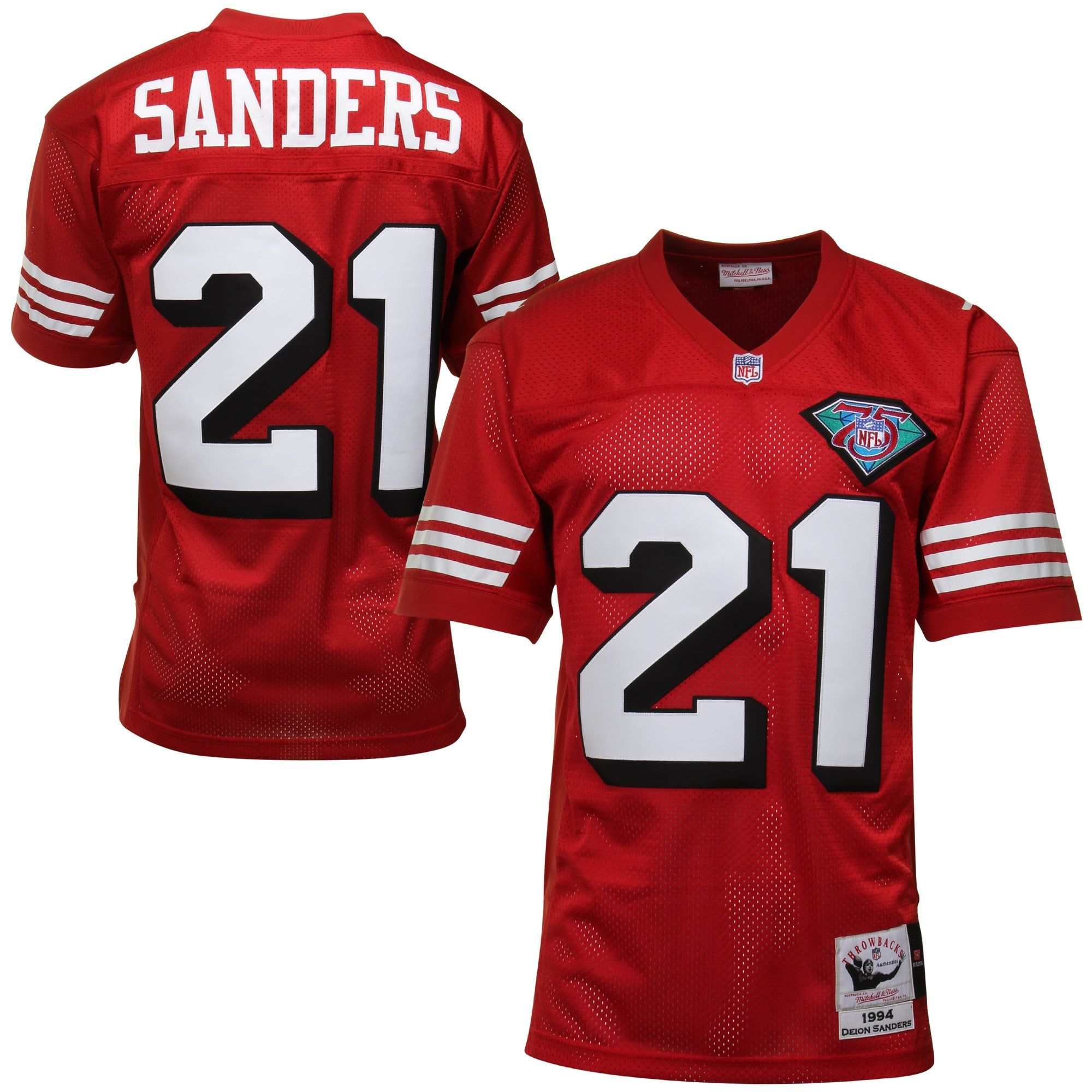 ... low cost 49ers 21 deion sanders white 75th throwback jersey deion  sanders san francisco 49ers mitchell 1996fb15e
