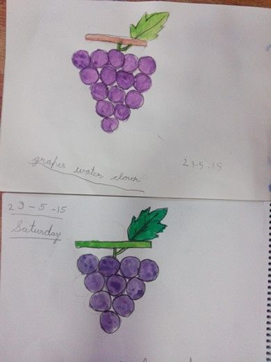 Fruit day...grapes in water colour by kids