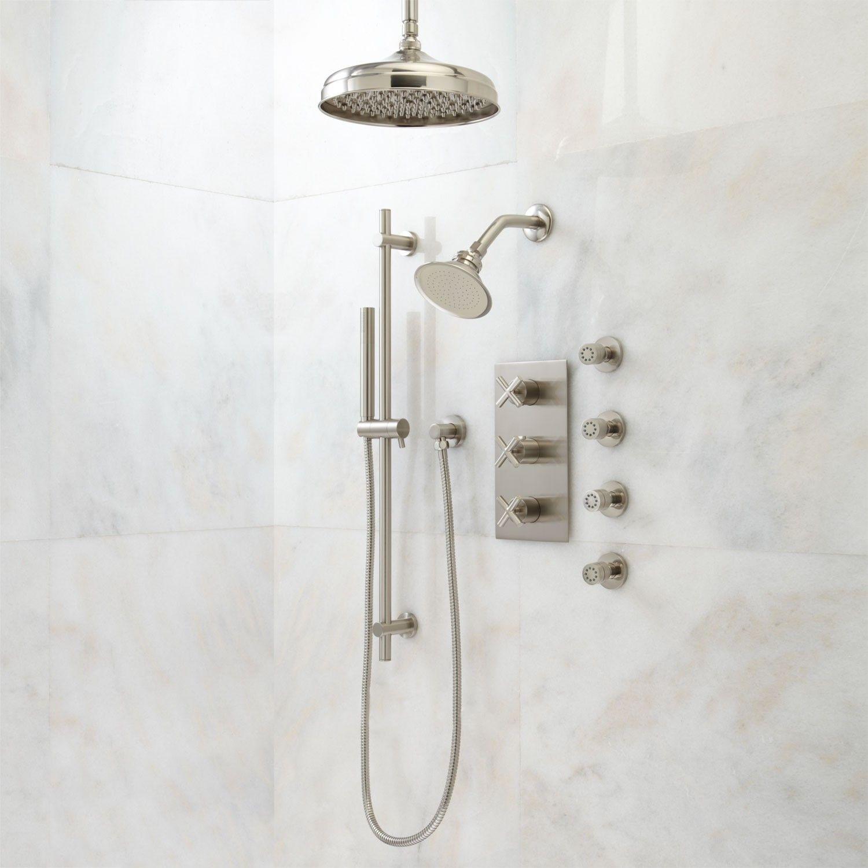 Exira Thermostatic Shower System Dual Shower Heads Hand Shower