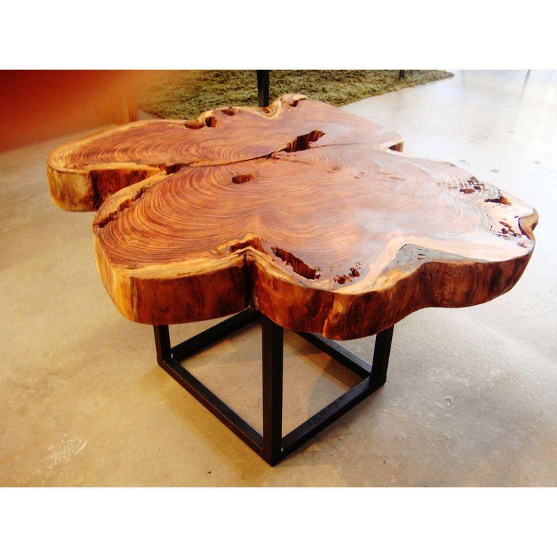 California Redwood Round Coffee Table Coffee table