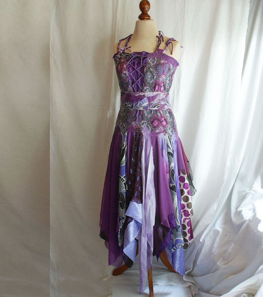 Bridesmaids dress romantic tattered purple lilac upcycled womans bridesmaids dress romantic tattered purple lilac upcycled womans clothing funky style shabby chic eco friendly style ombrellifo Images