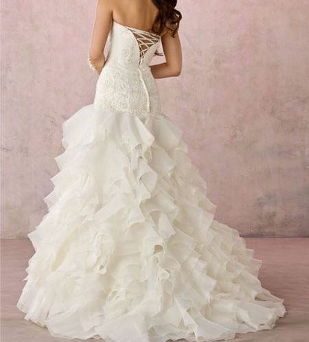 A Line Ivory Strapless Tube Top Wedding Dress For Vintage Style