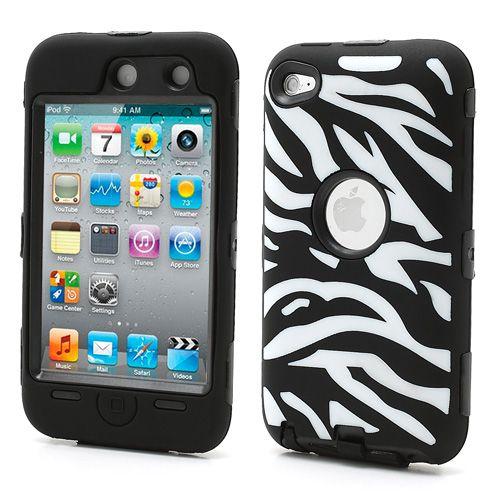 #Zebra Stripe Impact Resistant PC & Silicone Hybrid Case for iPod #Touch4
