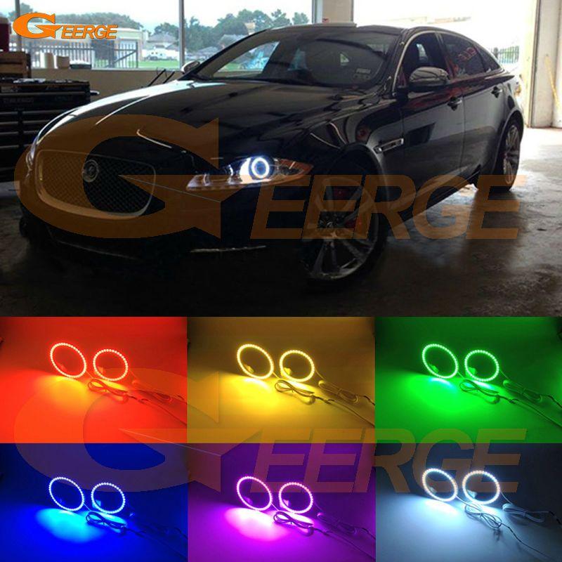 For Jaguar Xj 2011 2012 2013 2014 2015 Excellent Angel Eyes Multi Color Ultra Bright 7 Colors Rgb Led Angel Eyes Kit Jaguar Xj Car Lights Led Angel Eyes