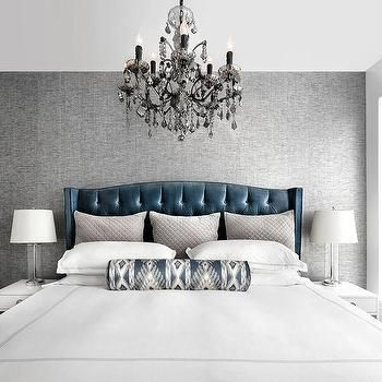Blue Velvet Tufted Headboard With Charcoal Gray Accent Wall Grey Bedroom With Pop Of Color White Rooms Upholstered Bed Master Bedroom