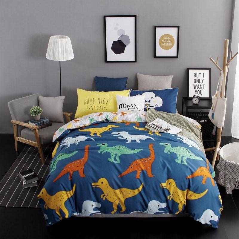 Bedding Set Blue Dinosaur Duvet, Queen Size Dinosaur Bedding Set