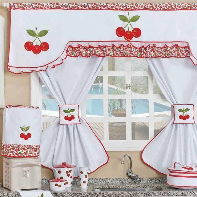 Cortinas para cozinha artesanal com cereja | aa lindo | Pinterest ...