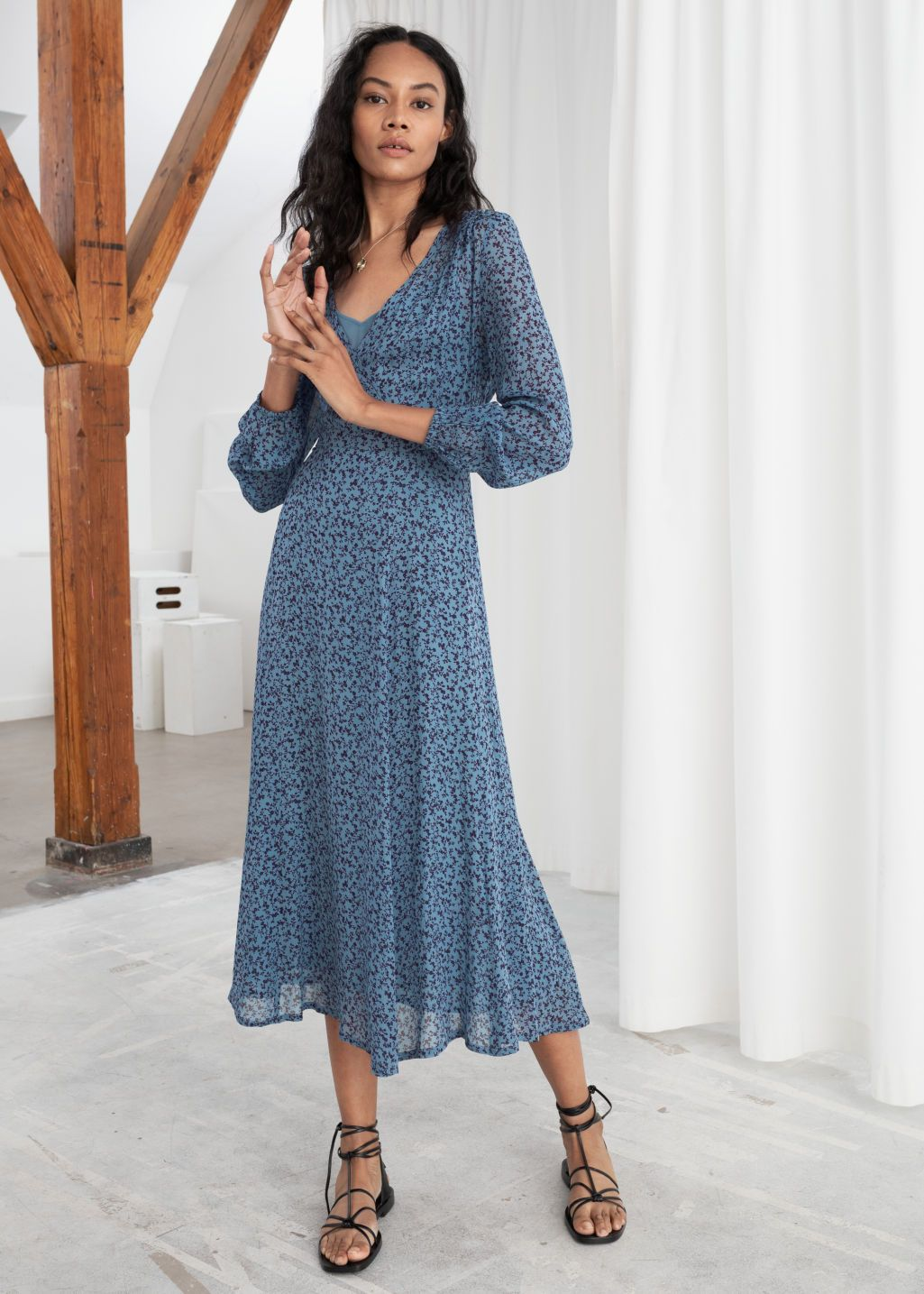 Sheer Printed Midi Dress Micro Floral Midi Dresses Other Stories Midi Dress Dresses Fashion
