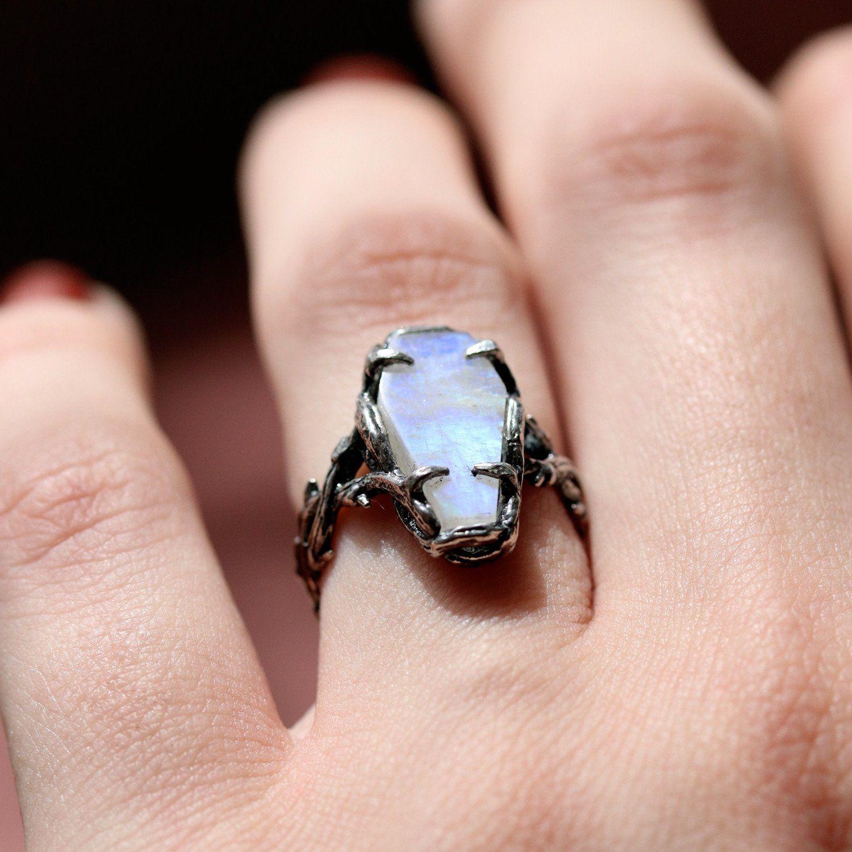 Skadi\'s Demise Moonstone Coffin Gothic Thorn Ring | Jewelry ...