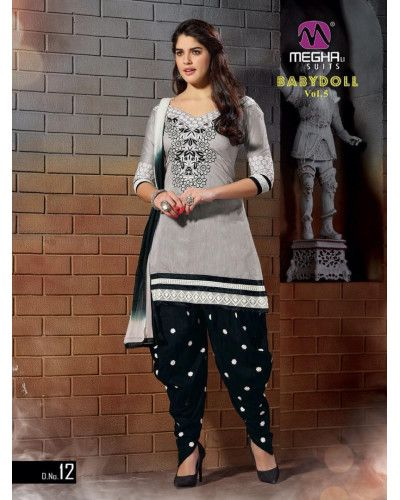 Grey Black Embroidery Work Desi Patiala Suits
