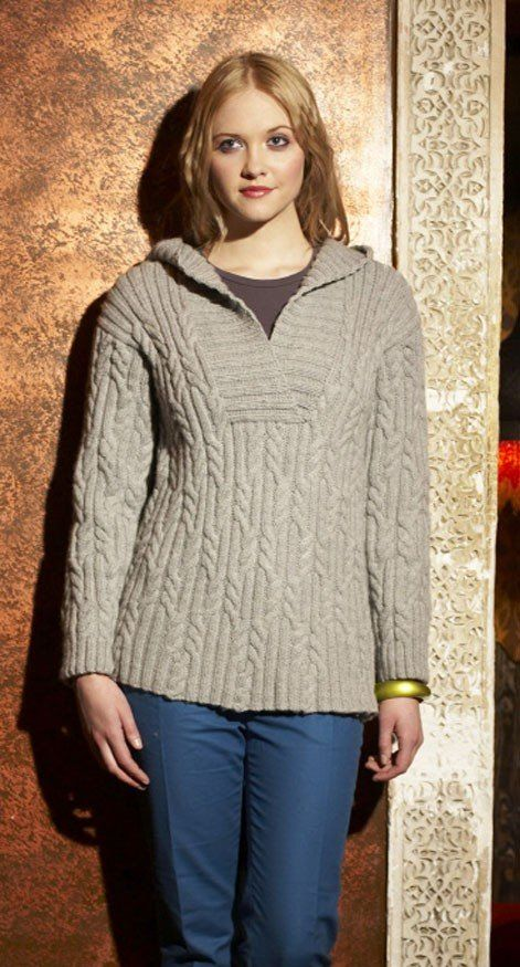 Hooded Cabled Tunic in Debbie Bliss Blue Faced Leicester Aran ...