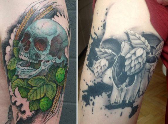 skulls hops craft beer tattoos ink pinterest tattoo and tatting. Black Bedroom Furniture Sets. Home Design Ideas