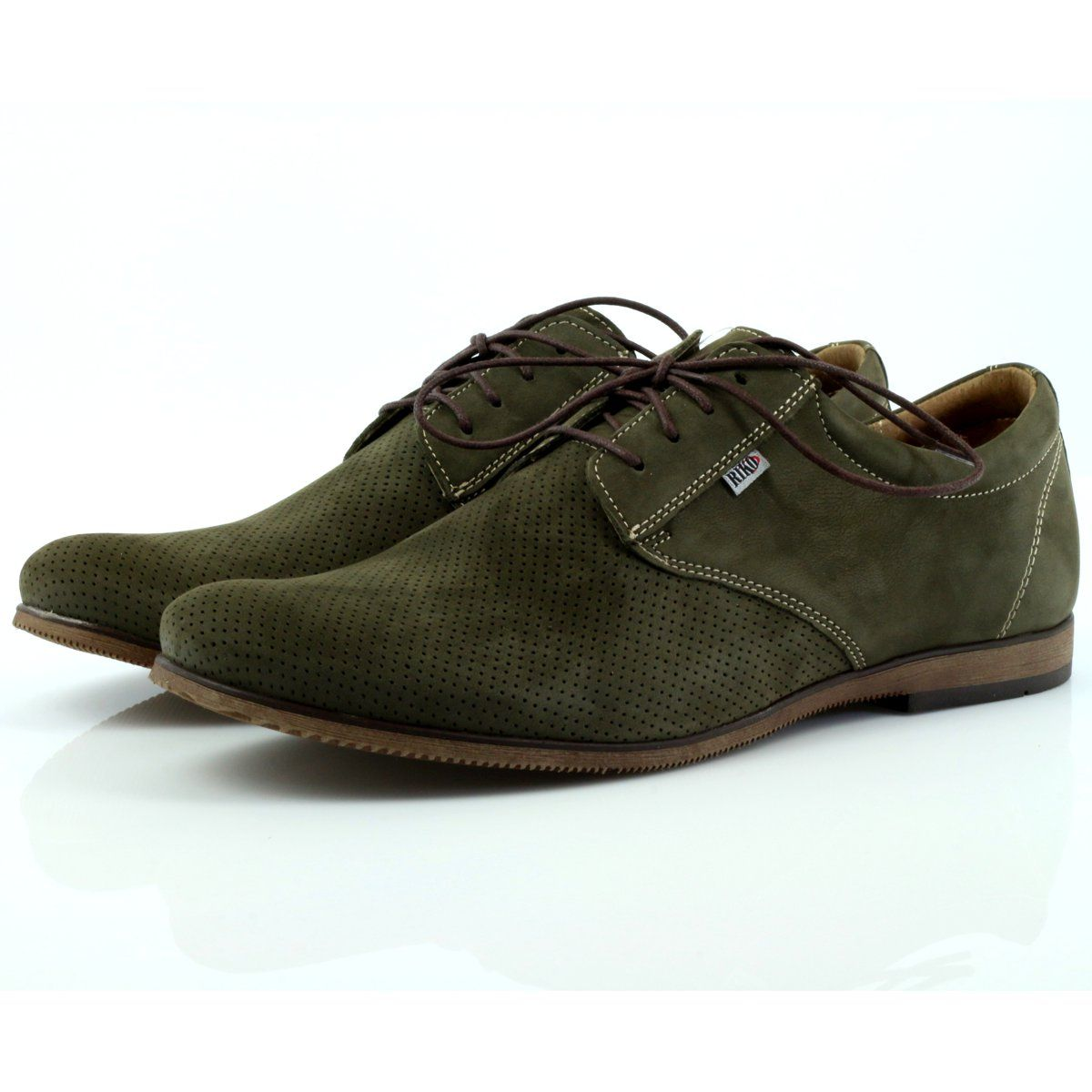 Riko Buty Meskie Polbuty Casual 777d Zielone Oxford Shoes Dress Shoes Dress Shoes Men