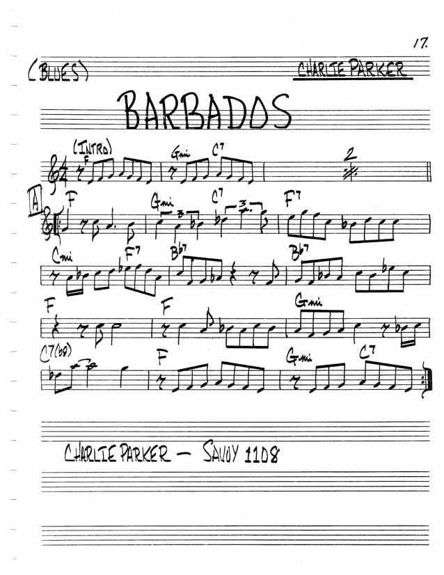 Jazz Standard Realbook chart BARBADOS | guitar | Jazz sheet music