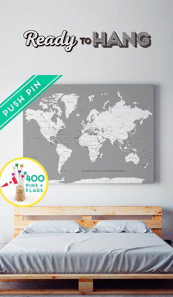 Custom Large World Map Canvas Gray White Personalized Gift Cute