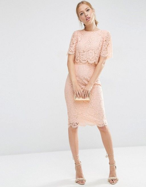 4b064859 ASOS Lace Crop Top Midi Pencil Dress in BLUSH PINK (with gold accessories)  US.ASOS.COM --