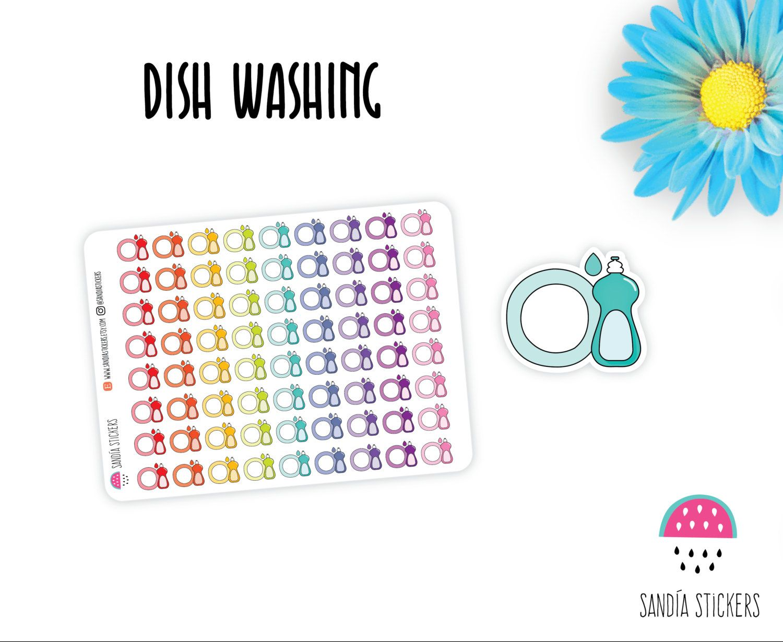 Dish washing Planner Stickers, Cleaning Stickers, Erin Condren, Plum Paper Planner, Filofax,Kikkik, Limelife. de SandiaStickers en Etsy