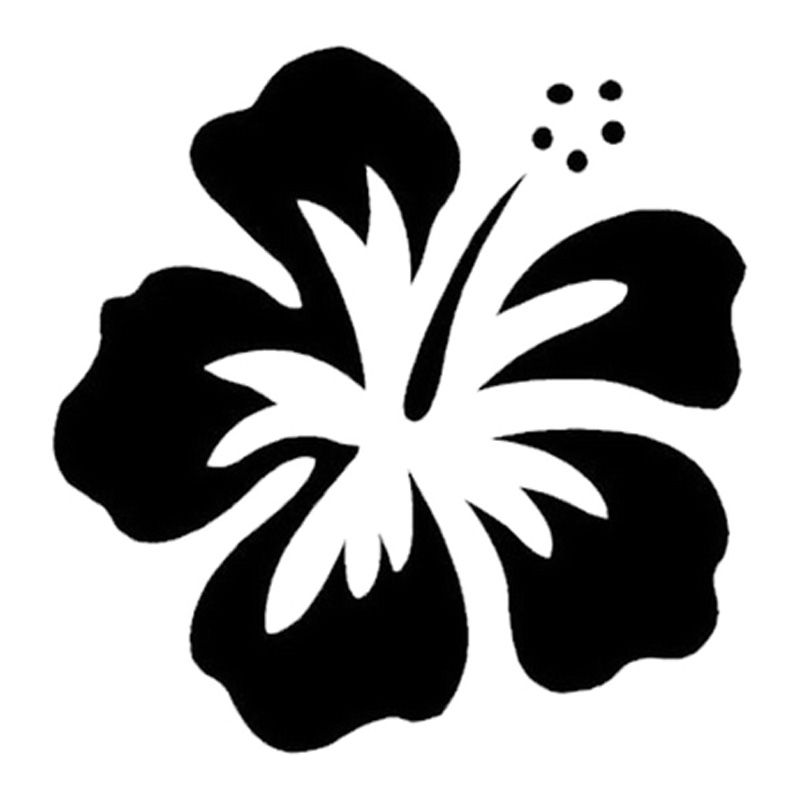 Hotmeini Car Sticker 13cm 13cm Hawaiian Hibiscus Flower Cartoon Oem Car Window Car Body Laptop Stickers Black Sliver Etc Flower Stencil Flower Drawing Hibiscus
