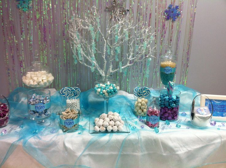 Silver And Glitter Decorations Well Including Marshmallows Bonbons And Blue And White Swirl Lollip Frozen Birthday Theme Frozen Bday Party Frozen Theme Party