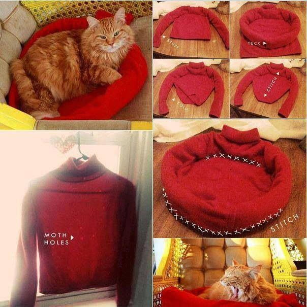 DIY Cat Bed from your old sweater!!